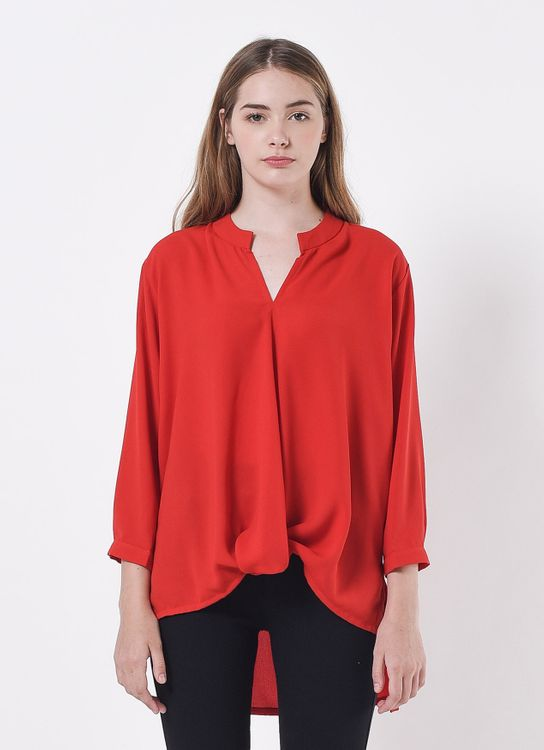 Story of Rivhone Henley Top - Red