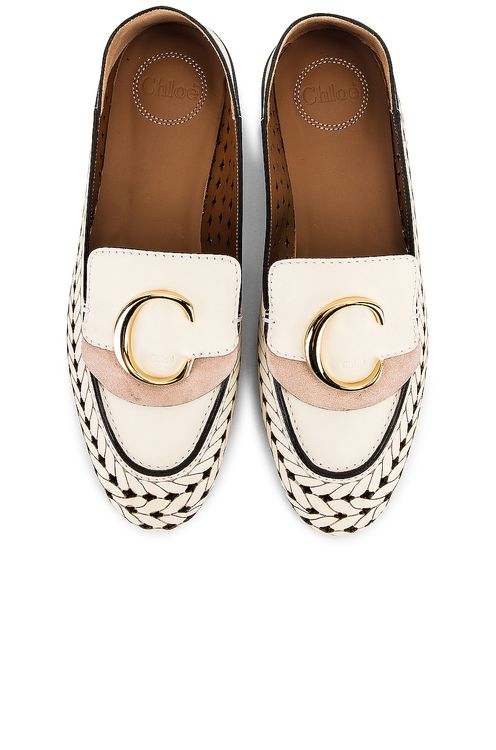 Chloé C Lasered Leather Loafers
