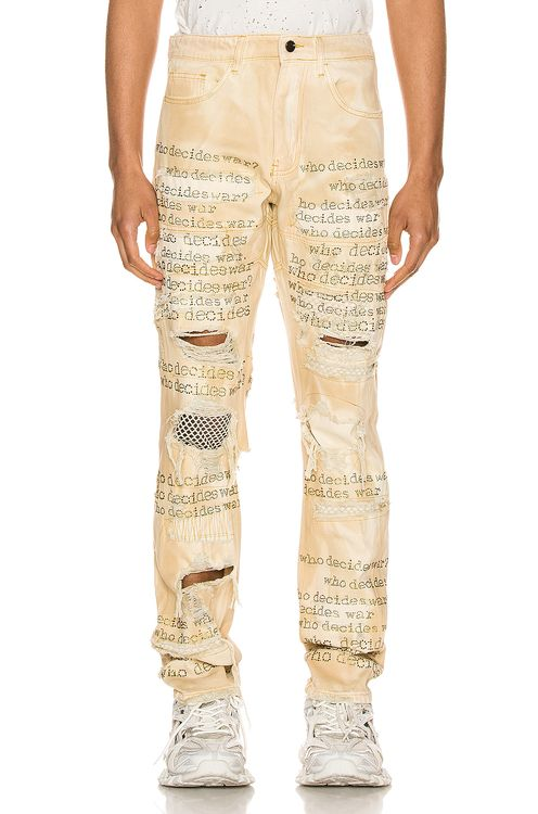 Who Decides War By MRDRBRVDO Who Decides War Rhinestone Text Denim