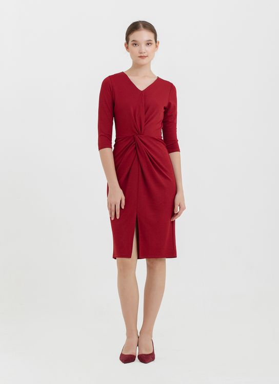 CLOTH INC Twisted Scuba Dress in Maroon