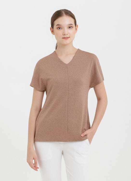 CLOTH INC Drop Shoulder Scuba Top in Brown