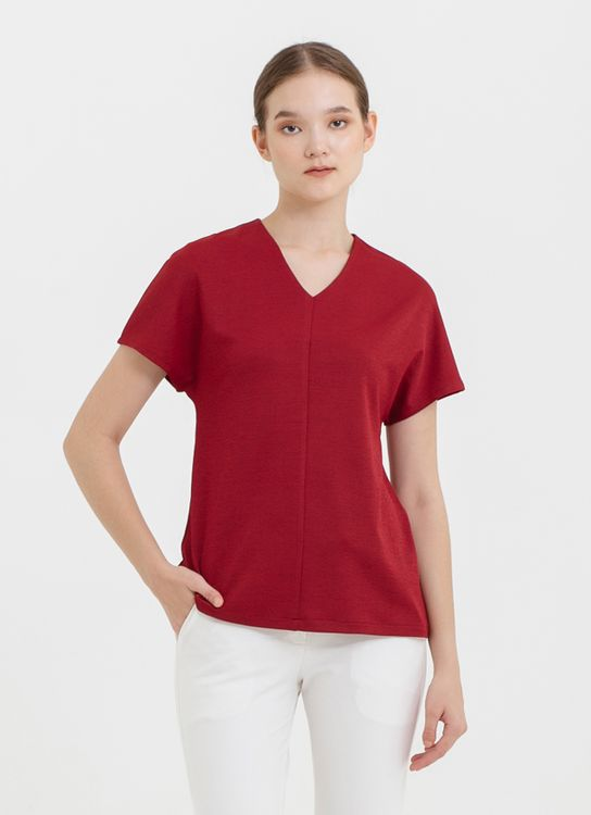 CLOTH INC Drop Shoulder Scuba Top in Maroon