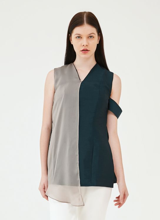 Ratel Jade Top - Green and Taupe