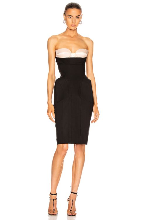 Mugler Strapless Midi Dress