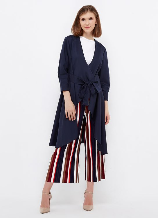 Ree Tie Up Cardigan Blouse - Navy
