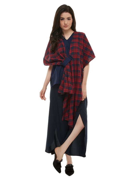 Ree Three Ways Blouse - Red Plaid