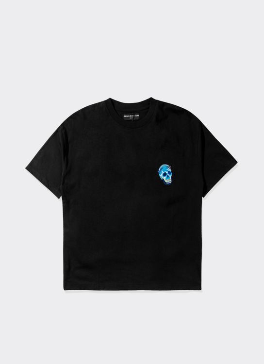 Uncles Beach Club T-shirt with one pointed embroidery Skull - Black
