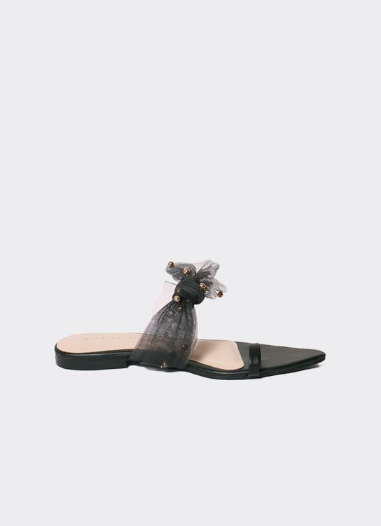 INPACA Jolie Relax Bow Tie Casual Sandals Black