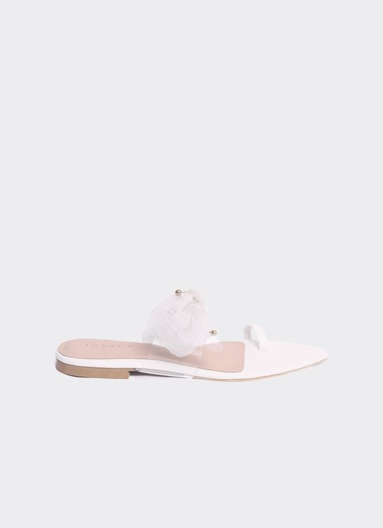 INPACA Jolie Relax Bow Tie Casual Sandals White
