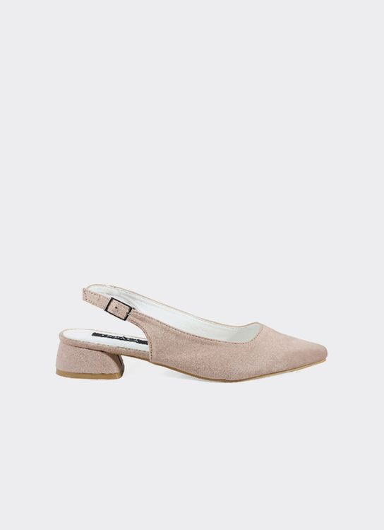 INPACA Yura Sling Back Shoes with Low Heel Nude