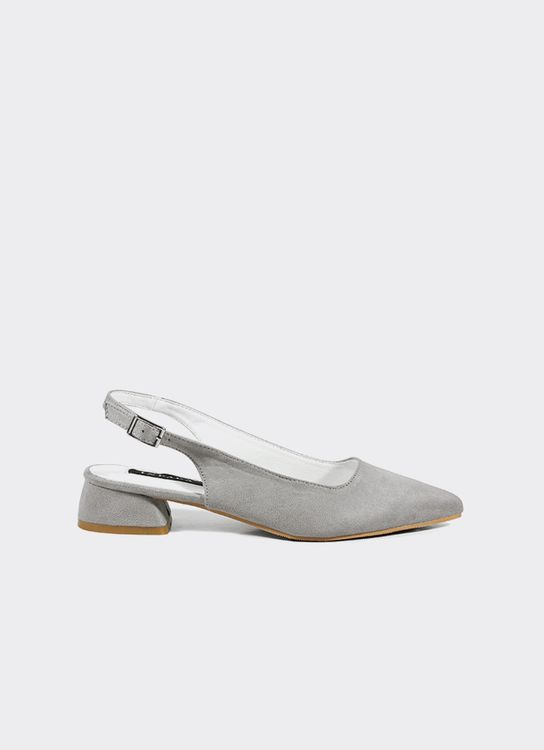 INPACA Yura Sling Back Shoes with Low Heel Grey