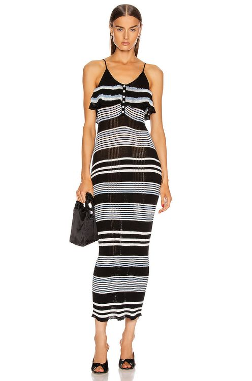 Self Portrait Stripe Fine Knit Cami Dress
