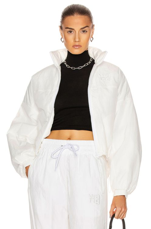 T by Alexander Wang Raised Logo Embroidery Zip Jacket