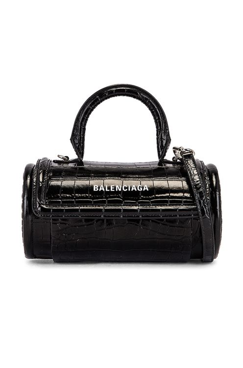BALENCIAGA Small Embossed Croc Round Top Handle Bag