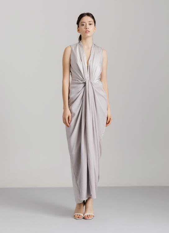 Dua Awan Studios GLASS Draped Dress - Silver