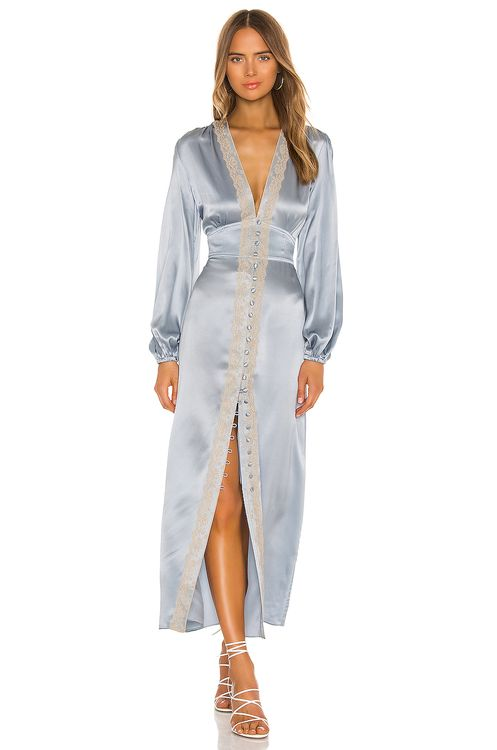 Divine Heritage Long Sleeve Button Up Midi Dress
