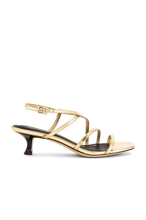 Lola Cruz Saturn Mirror Kitten Heel Sandals