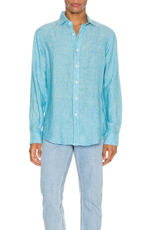Polo Ralph Lauren Linen Chambray Long Sleeve Button Up Shirt
