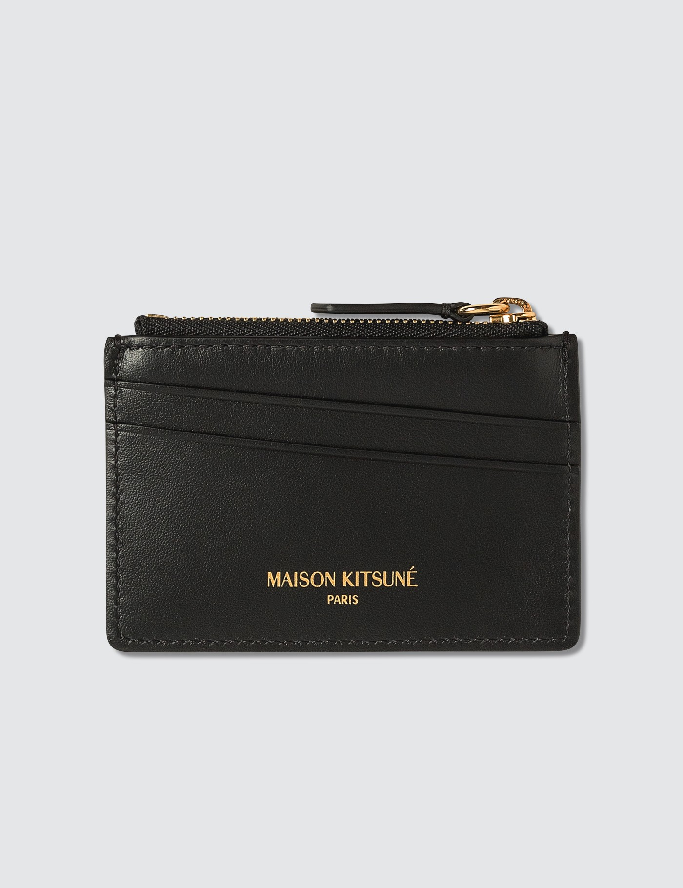 MAISON KITSUNE Tricolor Fox Zipped Leather Card Holder