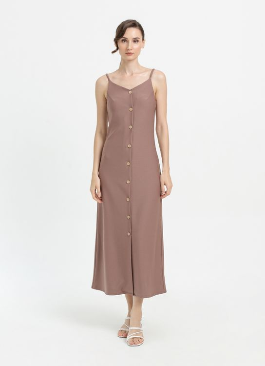 CLOTH INC Button Knit Midi Dress in Taupe