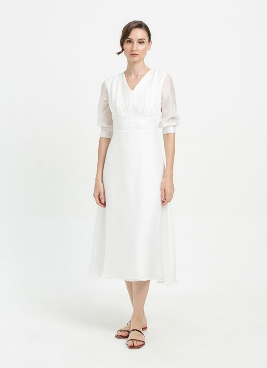 CLOTH INC Crinkled Cotton Midi Dress