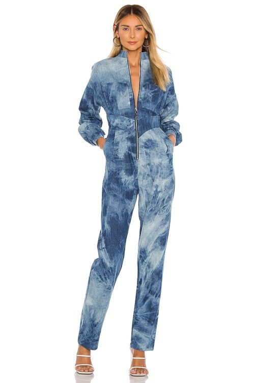 Divine Heritage Zip Front High Waisted Jumpsuit