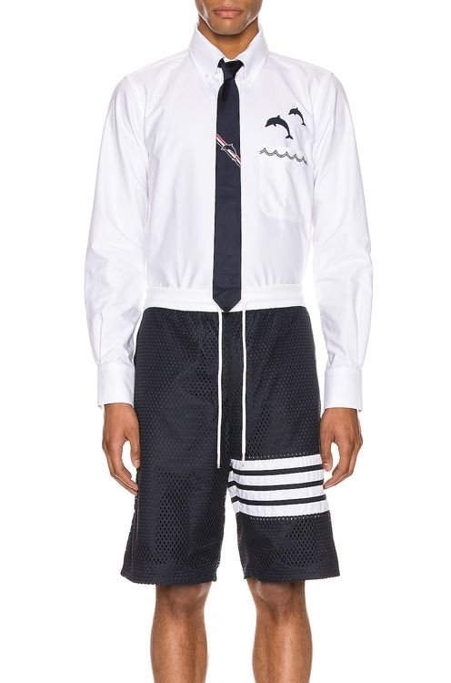Thom Browne Straight Fit Button Down Long Sleeve Shirt