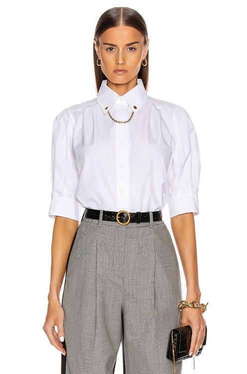 Givenchy Puffy Short Sleeve Chain Blouse