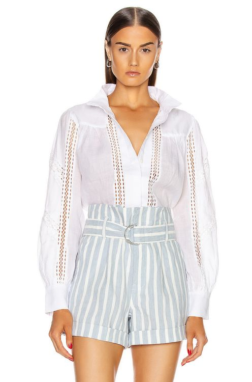 Frame Panel Lace Button Up Top