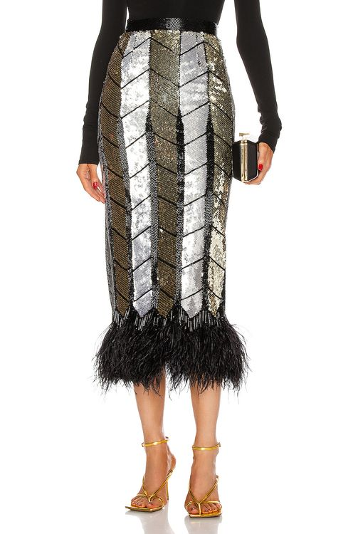 Attico Ostrich Feather Pencil Skirt