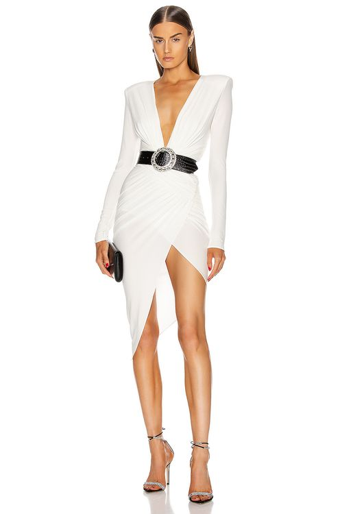 ALEXANDRE VAUTHIER Plunging Asymmetric Midi Dress