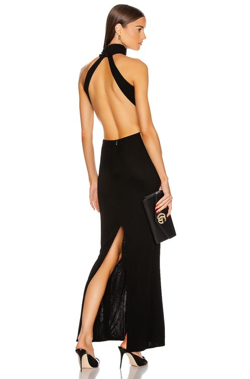 Brandon Maxwell High Neck Backless Gown