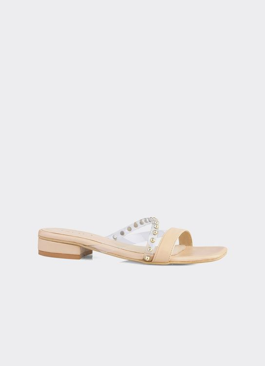 INPACA Chloe Low-Heeled Casual Sandals with Pearl Strap - Nude