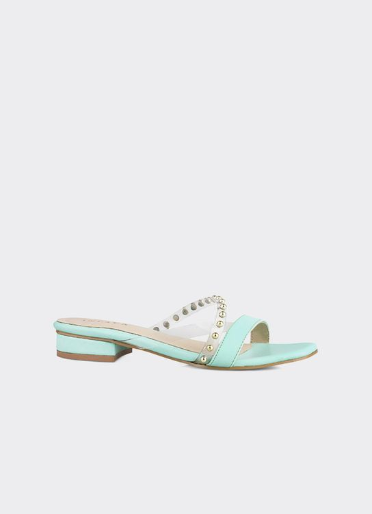INPACA Chloe Low-Heeled Casual Sandals with Pearl Strap - Mint