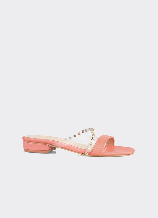 INPACA Chloe Low-Heeled Casual Sandals with Pearl Strap - Peach