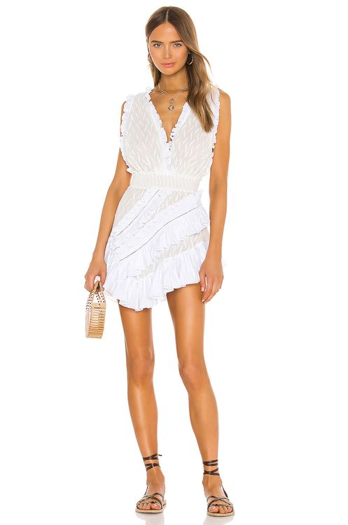 CHIO Asymmetrical Embroidered Ruffle Dress