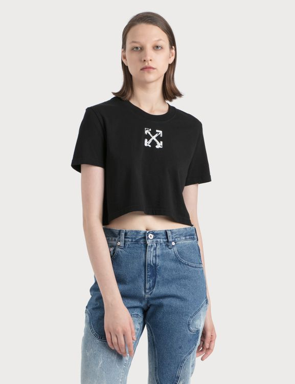 Off-White Spray Arrows Crop Casual T-Shirt