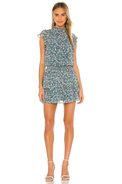 1. STATE Woodland Floral High Neck Tiered Dress