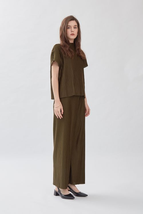 Shopatvelvet Square Pleated Top Olive