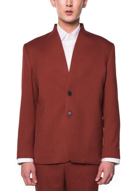 jan sober Red Brick Collarless Blazer