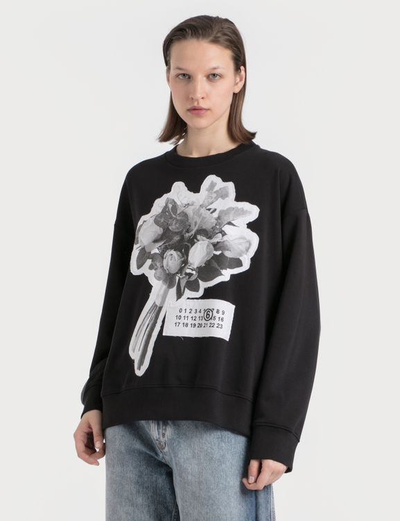 MM6 Maison Margiela Rose Print Oversized Sweatshirt