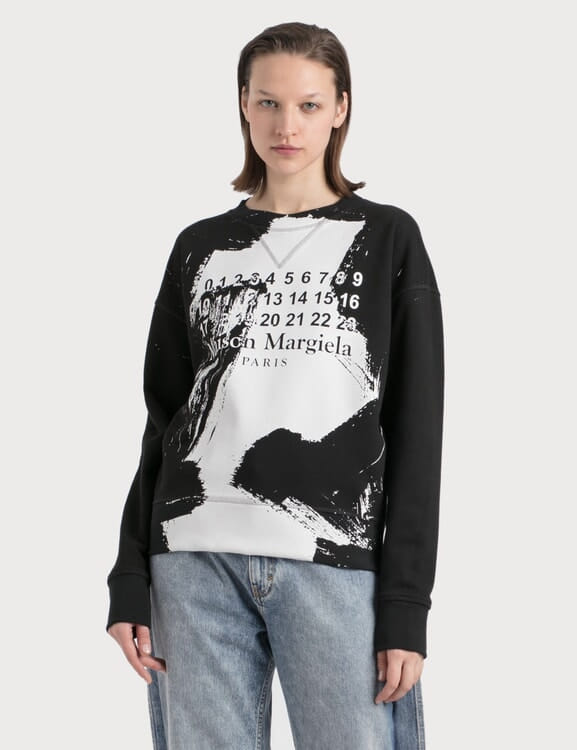 Maison Margiela Paint Effect Logo Sweatshirt