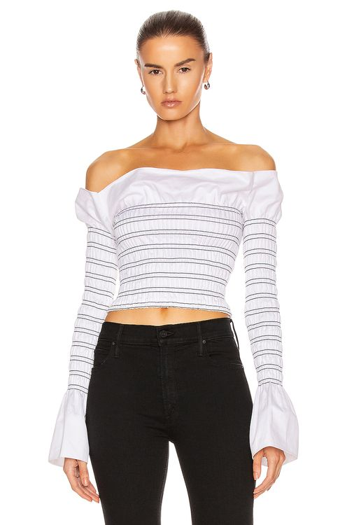 Dion Lee Shirred Cotton Long Sleeve Top
