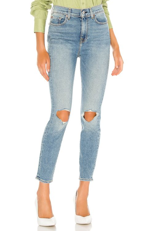 7 for all mankind The High Waist Ankle Skinny With Destroy