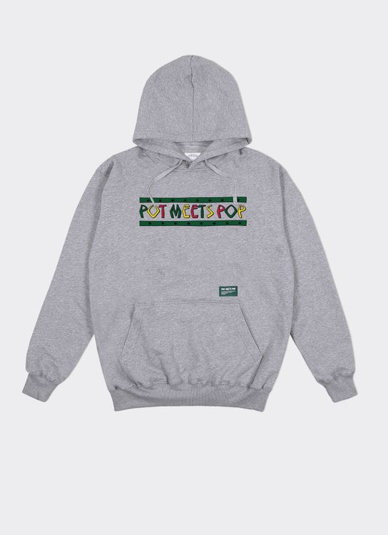 Pot Meets Pop Denim Tribe Hoodie Grey