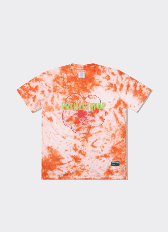 Pot Meets Pop Denim Logo Tee Tiedye