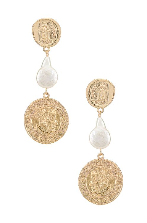 Amber Sceats Pearl Coin Earring