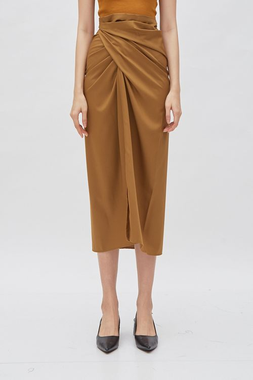Shopatvelvet Shaffron Skirt Brown