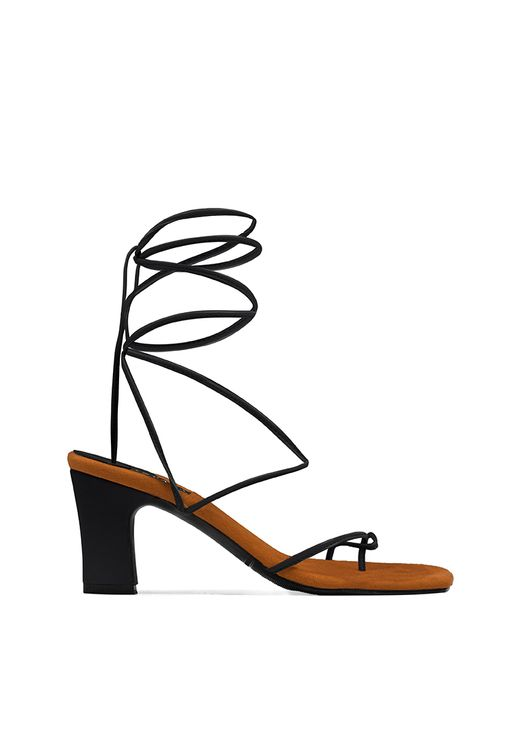 INPACA Athens Mismatched Multiway Strappy Heels Black
