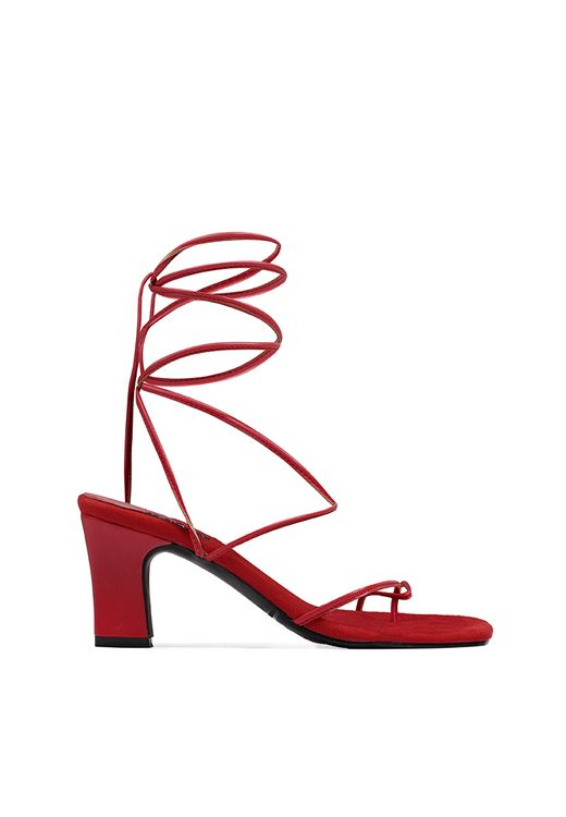 INPACA Athens Mismatched Multiway Strappy Heels Red